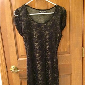 Gold with black lace overlay dress